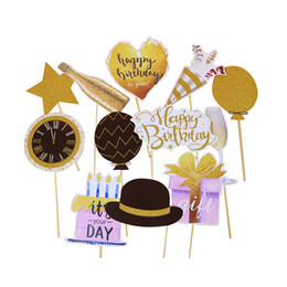 Birthday decoration flag online shopping - Creative Birthday party Decoration Handhold Golden painting Photo props Wedding celebrating mask by dhl