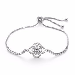 $enCountryForm.capitalKeyWord Australia - Transmit love Silver colour Bracelet Bangle for woman Stylish small flower with zircon bracelet party Jewelry birthday gifts