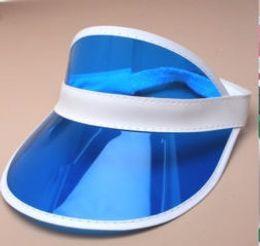 $enCountryForm.capitalKeyWord NZ - Hot Summer Transparent Colorful Plastic PVC Sun Visor Caps UV protection Sunshade Sea Beach Hats