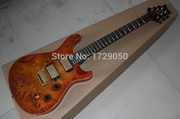 Discount mahogany wood for guitar - china factory custom Top Quality New Burl pattern 6 Strings natural Wood P R S Electric Guitar 51