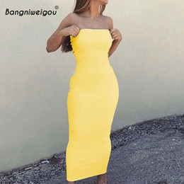 Wholesale stretchy bodycon dress sexy for sale – plus size Sexy Off Shoulder Tube Dress Yellow Women Summer Bodycon Sundress Strapless Stretchy Bandage Long Robe Femme