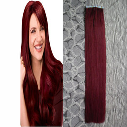 pure human hair extensions NZ - new fashion #99J Red Wine virgin brazilian straight hair PU Skin weft tape in human hair extensions cheap Adhesive tape hair extensions