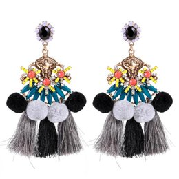 $enCountryForm.capitalKeyWord UK - Resin Hair Ball Tassel Stud Earring Bohemia Multi Layer Fashion Fringe Earrings Jewelry For Women National Style Hyperbole Dangler Gift New