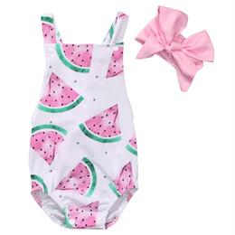 $enCountryForm.capitalKeyWord Australia - Summer Baby Girls Clothes Sleeveless Watermelon Infant Bebes Romper Backless Halter Jumpsuit +Headband 2pcs Outfit Sunsuit