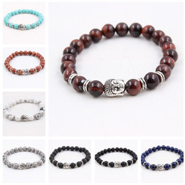 $enCountryForm.capitalKeyWord NZ - Wholesale 8 pcs lot Men's Beaded Buddha Bracelet, Turquoise, Black Onyx, Red Dragon Veins Agate, Tiger Eye Semi Precious stone Jewerly