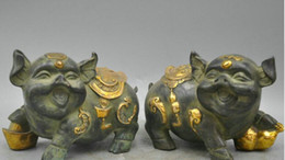 "$enCountryForm.capitalKeyWord NZ - New ++ 7"" Bronze a Pair Lucky Golden Pig Symbol Good Luck Wealth Sculpture Statue"