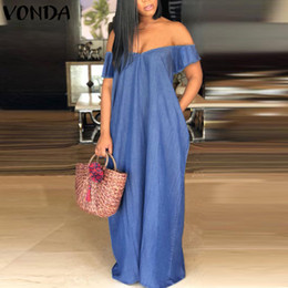 Wholesale women demin dresses for sale - Group buy VONDA Maxi Long Dress Summer Women Sexy V Neck Short Sleeve Demin Dress Vintage Casual Off Shoulder Vestidos Plus Size