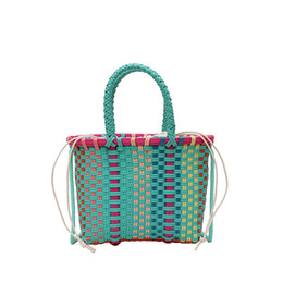 knitting tote bags wholesale NZ - 2019 fashion Women Weave Beach Bags Shopping Basket Striped Hand Knitted Handbag casual Totes super quality sac main femme