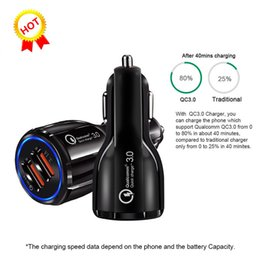 Usb Quick Charger Australia - Quick Charge QC3.0 For Samsung Galaxy S10 Iphone X QC3.0 fast charge 3.1A Qualcomm car charger Dual USB phone charger with opp package