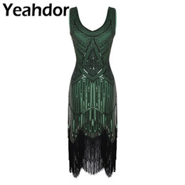 Wholesale flapper dresses resale online - Womens Ladies Shiny Sequins Beaded V Neck Sleeveless Fringed Tassels Hem Flapper Dress Cocktail s Dress Pageant Party