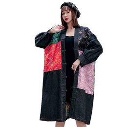 Wholesale women denim trench coat for sale - Group buy QING MO Spring Women Denim Coat Women Floral Printed Coat Female Vintage Loose Trench Personality ZQY2998