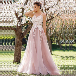 Autumn Colored Wedding Dresses UK - 2019 A-line Lace Pink Colored Wedding Dresses Jewel Sleeveless Lace Appliques Short Train Informal Outdoor Reception Gowns Custom Made
