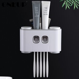 Dispenser Nails Australia - Oneup Automatic Toothpaste Dispenser Dust-proof Toothbrush Holder With Cups No Nail Wall Stand Shelf Bathroom Accessories Sets Q190605