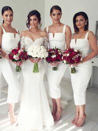 $enCountryForm.capitalKeyWord Australia - 2019 Sheath Square Neck Mid Calf Sleeveless White Satin Bridesmaid Dresses Tea Length For Wedding Romantic Evening Gowns