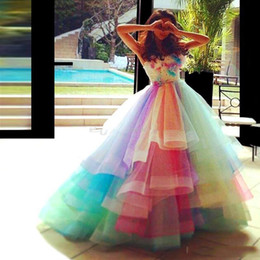 rainbow maternity dress UK - Stylish Rainbow Beaded Prom Dresses Strapless Neck Rhinestones Evening Gowns Sweep Train Tiered Vestidos De Fiesta Appliqued Formal Dress