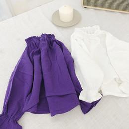 Girls Purple Shirt Australia - WNLEIGEL girls autumn spring casual t shirts kids white purple long sleeve cotton linen t-shirt baby all match tops children 1-6