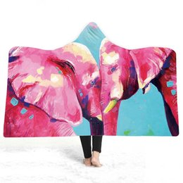 elephant bedding Australia - 3D Elephant Hooded Blanket Sherpa Fleece Wearable plush Throw Blanket on Bed Sofa Thick warm B127