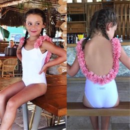 kid girls one piece swimwear Australia - New Baby Girls One Piece Swimsuit Summer 2020 Swimsuit Girls Floral Print Lace One Piece Swimwear Beach Bathing Suit Kids A429