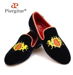 1bd6ac4a0c Refinement Embroidery Navy Upper Gold Outsole Velvet Shoes Men Loafers  Smoking Slipper Men Casual shoes Flats size US 4-14 Fre