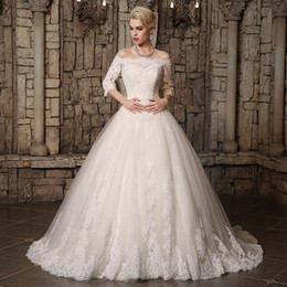 $enCountryForm.capitalKeyWord Canada - 2019 Modest A Line Wedding Dresses Sheer Bateau Nec Lace Appliques Back Lace Up Country Style Chic Bridal Gown Custom Made Hot Sale