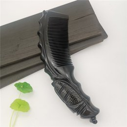style for long black hair Australia - Free Shipping Natural Black Buffalo Horn Comb Ergonomic Design Cicada Handle Comb Suitable For Long Straight Hair Antistatic Comb