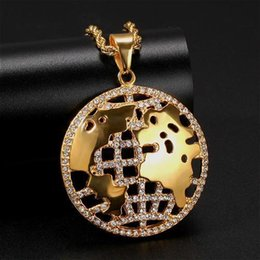 new world gold Canada - New Brand Fashion Designer Luxury Gold Stainless Steel Diamond Hollow World Map Round Pendant Necklace Hip Hop Rapper Jewelry for Men Women