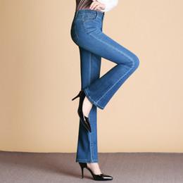 46a0e3eebf Plus Size Bell Bottom Pants Australia - Brand 2018 Women's Jeans Stretch  Blue High Waist Denim