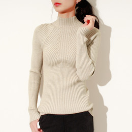 Korean Fashion Tights Australia - INS 2019 spring New fashion Women ladies Turtleneck soft thin sweater femme korean pull tight casual knit ribbed jumper clothes summer