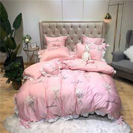 $enCountryForm.capitalKeyWord Australia - Little Daisy embroidery Bedding Sets girls Beddingset egyptian cotton Bed Linen Duvet Cover Bed Sheet Pillowcase bed Sets 4 7pcs