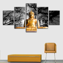 birds home picture UK - Print Canvas Wall Art Modular Poster HD 5 Panel Buddha And Bird Tree Modern Picture Home Decoration Bedroom Painting Framework