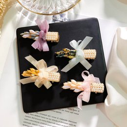 $enCountryForm.capitalKeyWord Australia - Vintga pearl girls hair clips crystal baby BB clips lace bows princess kids barrettes designer hair accessories for women hair clips A6767