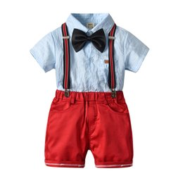 Hot Cat Suits Australia - cat-1998 2019new hot summer cotton boy's bow tie gentleman strap short-sleeved shirt four-piece European and American children's suit