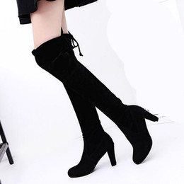 HigH Heels long online shopping - women wedding shoe platform chunky heel over the knee stretch boots square toe heel genuine leather suede slim long booties US size