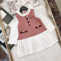 $enCountryForm.capitalKeyWord NZ - Kids designer clothes fall new girls dress wrinkled collar and cuff design butterfly decorative design knitted cotton and linen dress