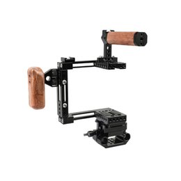 15mm camera Australia - CAMVATE Adjustable Half Cage Kit With Manfrotto Quick Release Plate 15mm Railblock Base + Wooden Handgrip Item Code: C2440