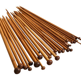 Chinese  carbon bamboo 36pcs 18 Size Knitting Needles for Sale Crochet Hook Single Pointed Carbonize Bamboo Needle Weave Sweater Knitting Tools manufacturers
