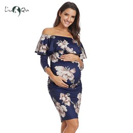 07fb975ef25f 2017 maternity clothes Ruffle Off Shoulder Maternity Dresses Pregnant Women  Dress Ruffles Pregnancy Clothes Ruched Sides
