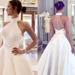 $enCountryForm.capitalKeyWord Australia - 2019 A Line Satin Wedding Dresses Halter Neck Backless Covered Button Sweep Train Plus Size Bridal Gowns
