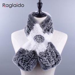 Soft Fur Scarf Australia - Rabbit Fur Scarfs for women real Rex floral Scarves fluffy Winter girls Warm Soft knitting Shawls 90x14cm LQ07025