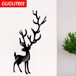 $enCountryForm.capitalKeyWord Australia - Decorate Home 3D deer animal cartoon mirror art wall sticker decoration Decals mural painting Removable Decor Wallpaper G-321