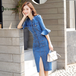 vestidos blue jeans NZ - Wholesale-Flare Sleeve Bodycon Midi Dress Women Summer Vestidos 2019 New Pocket Button Jeans Dress Sexy Split Ladies Denim Runway Dresses