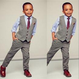 Kids Ivory Suit Australia - 2019 Gray Boy Vest Single Breasted Lapel Children Wedding Vest Kids Birthday Party Suits Vest (Vest+Pants )