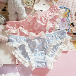 Wholesale sexy cartoon panties online – Soft Girl Printed Ruffles Panties Young Girl Cartoon Bow Kawaii Briefs Women Lolita Sexy Low waist Underpants