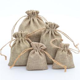 candy door gift Canada - 10Pcs lot Drawstring Natural Burlap Bag Jute Gift Bags Multi Size Jewelry Packaging Wedding Bags with Candy Bag Can Custom Logo