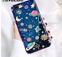 star cases NZ - Phone Case For Iphone Xs Xr Xs Max X 8 7 6 6s Plus Blu-ray Phone Back Cover Cute Planet Moon Star Cases Gift