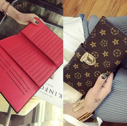 Multi slot wallets online shopping - Factory brand women handbag new printed leather long wallet classic color women wallet fashion Joker multi card rivet Hand bag