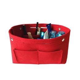 $enCountryForm.capitalKeyWord Australia - 1pc Felt Fabric Cosmetic Bag Travel Multifunction Handbag Cosmetic Organizer Purse Insert Bag Felt Fabric Storage Pouch Case