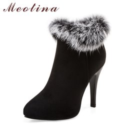 short white high heels NZ - Meotina Sexy Women Boots Winter High Heels Ankle Boots Shoes Women Fall Ladies Short Boots Snow Fur Zip White Red Big Size 11 45 T200425