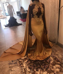 Wholesale girls night dresses resale online – 2k19 Black Girls High Neck Gold Mermaid Long Prom Dresses with shawl Lace Applique Formal Party Evening Dresses Night Wear Custom Made