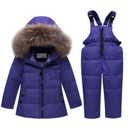 $enCountryForm.capitalKeyWord Australia - Toddler -30 Degrees Kid Ski Suit Baby Winter Jumpsuit Set Girl Boy Clothing Set 100% Down Hooded Fur Jacket Overalls Clothes